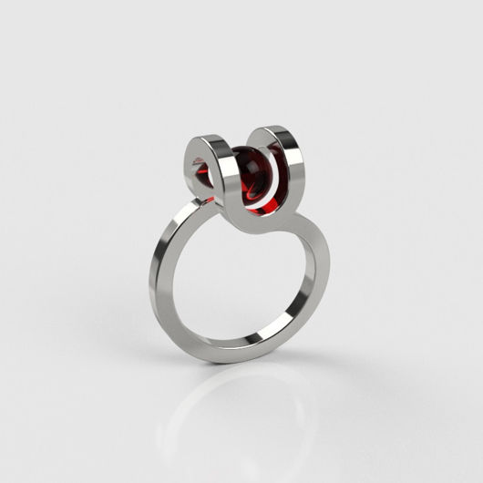 PLAYBACK Well Ring - Round - red crystal