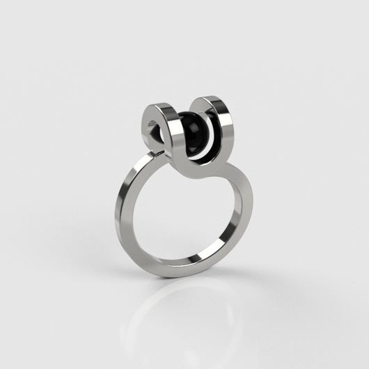 PLAYBACK Well Ring - Round - black crystal