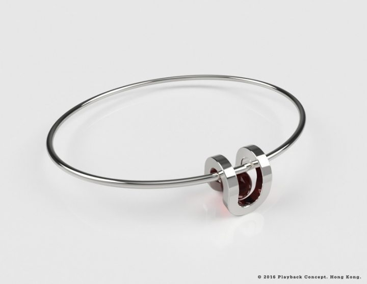 PLAYBACK Round Well Bracelet - red crystal