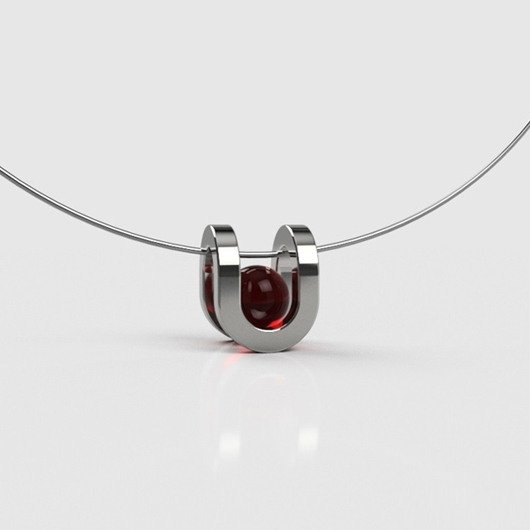 PLAYBACK Well Necklace - Round - red crystal